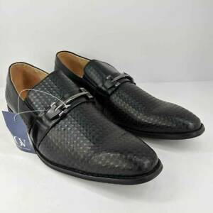 Gino-Vitale-Mens-Diamond-Cut-Loafer-Dress-Shoes-Black-Horsebit-Slip-Ons-12-New