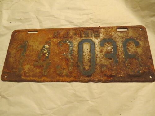Vintage-almost ANTIQUE!! NJ Licence Car Plate 1918!!!!