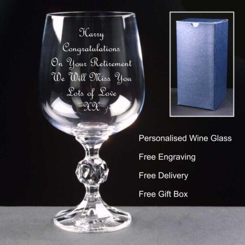 Personalised 230ml Crystal Wine Glass,Retirement,Birthday,Christmas,Wedding Gift