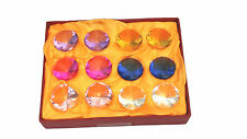SET OF 12  Clear MULTI COLOUR  Crystal GLASS  Paperweight DIAMONDS