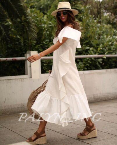 NWT ZARA SS19 LONG DRESS WITH RUSTIC RUFFLES OFF WHITE 4770//036/_S M L