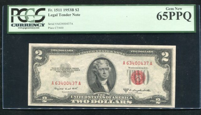 FR. 1511 1953-B $2 RED SEAL LEGAL TENDER UNITED STATES NOTE PCGS GEM NEW-65PPQ