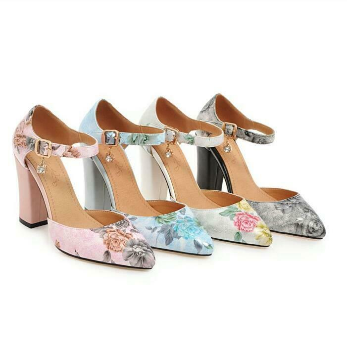 2019 New Fashion Womens Strap Buckle Floral Print shoes Pumps Block High Heels 8