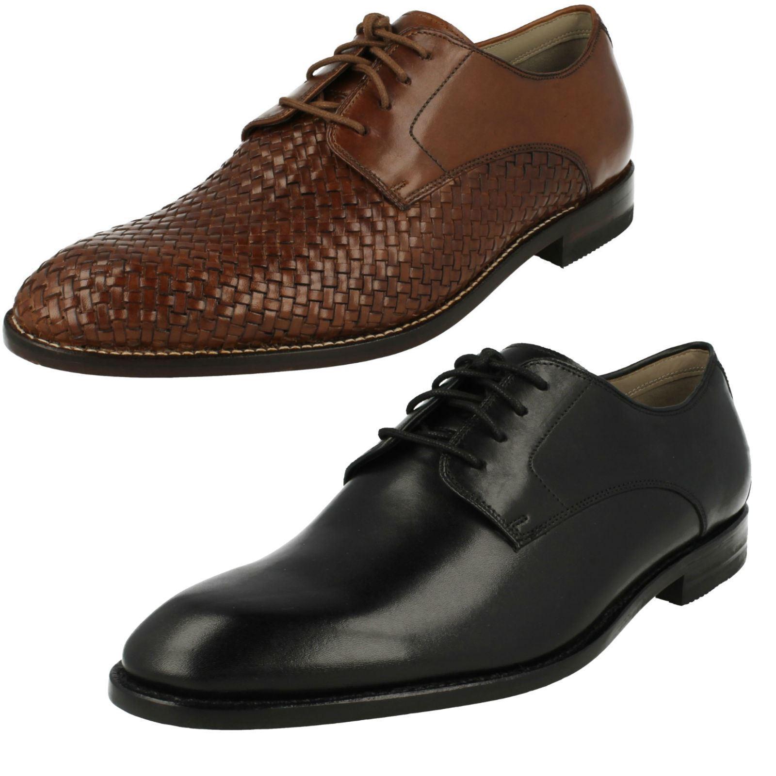 Zapatos de Cuero para Hombre Clarks rojoondeado del dedo del pie Inteligente Con Cordones Encaje twinley