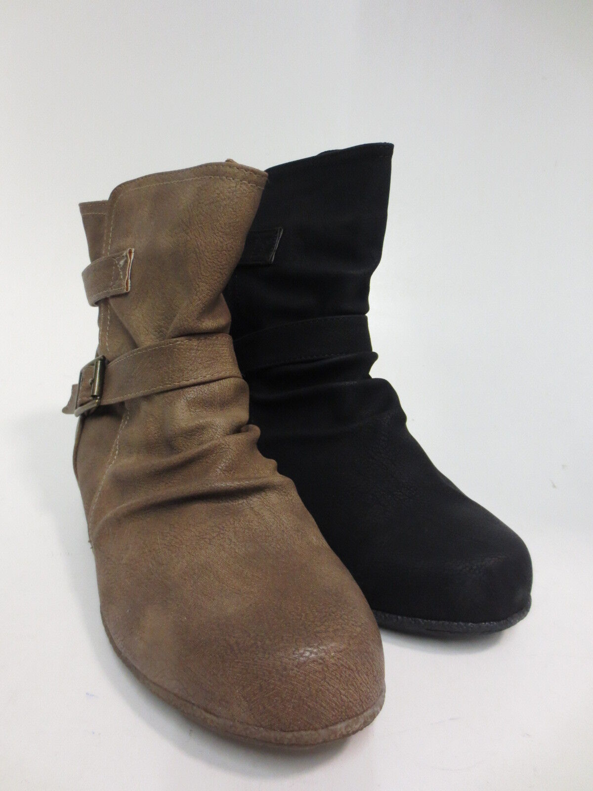 Spot On F5R0366 Ladies Black & Taupe Ankle Boots