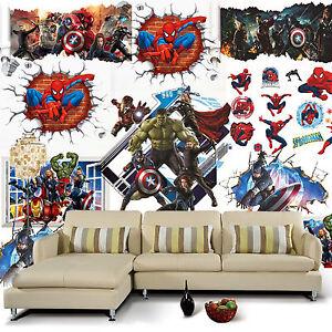 8 Style Te Avengers Marvel Spiderman Iron Man Wall ...