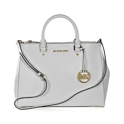 Michael Kors Sutton Large Leather Tote - Optic White