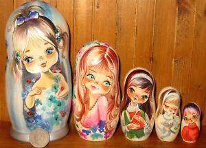 Matryoshka-Russian-Nesting-dolls-GALLARDA-Vintage-5-Big-Eyed-Girls-Boy-Postcards