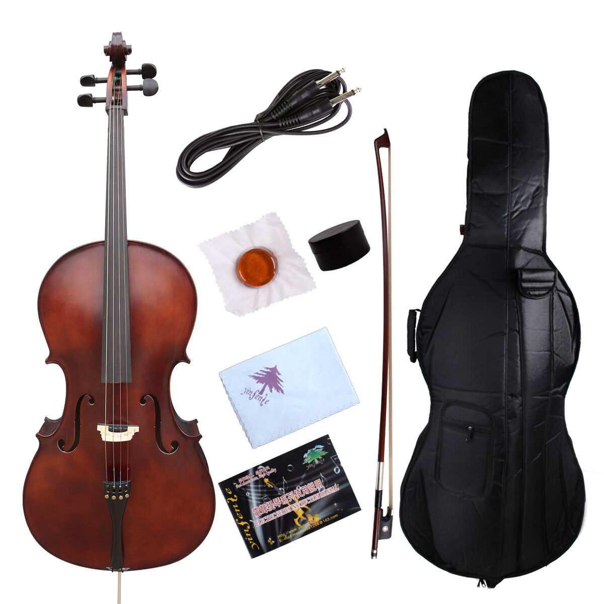 YinfenteElectric Acoustic Cello 4 4 Maple+Spruce Powerful Sound
