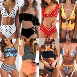 Women High Waist Push Up Bikini Bathing Suit Swimwear Swimsuit Swimming Costume