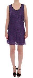 Detalles De Nuevo Dolce Gabbana Vestido Morado Floral Encaje Corto Mini Cambio It44us10