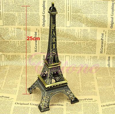 Vintage Alloy Bronze Tone Paris Eiffel Tower Figurine Statue 6 Sizes Model Decor