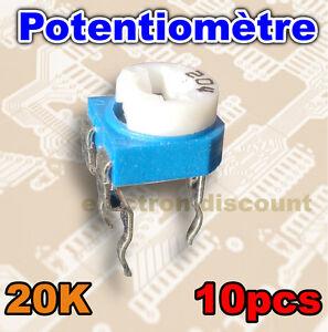 1525-20K-10-Potentiometre-pour-CI-20K-ohms-10pcs