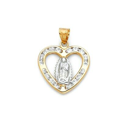 American Set Co 14k Yellow Gold Blessed Virgin and Baby Jesus Enamel Picture Religious Pendant Charm