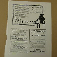 "vintage advertise STEINWAY London / Model ""S"", 1936"