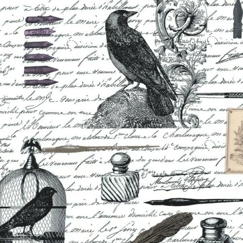 Cotton BTY Nevermore Collection Edgar White Fabric Inspired by Edgar Allen Poe