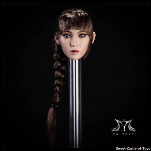 1//6 YMtoys Asian Female Long Brown Hair Pale Head Sculpt Ying B Ver For TBLeague