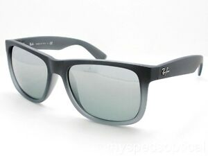 AUTHENTIC Ray Ban Justin 4165 852 88 Grey Grad Rubber Mirror New ... 1bf7886982