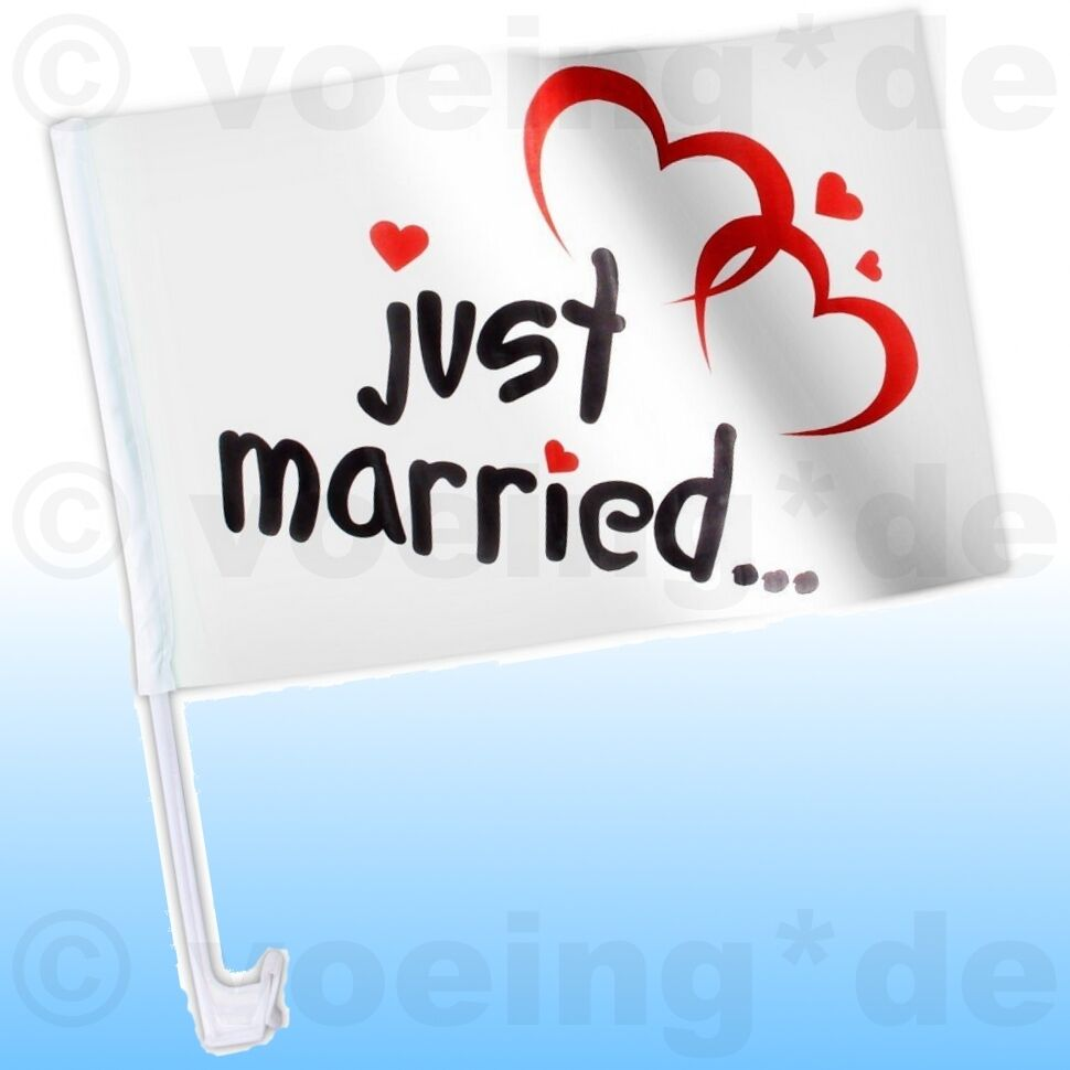 48x Autofahne Just Married Motiv  Klassik Auto Fahne Flagge Hochzeit Justmarried