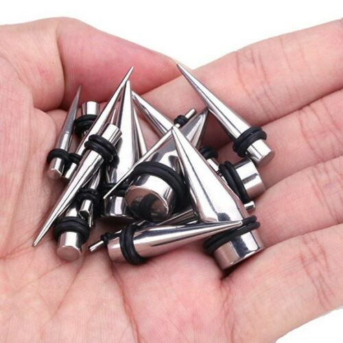 28PCS Ear Stretching Gauges Set Tapers Tunnels Plugs Kit 12G-00G Stainless Steel