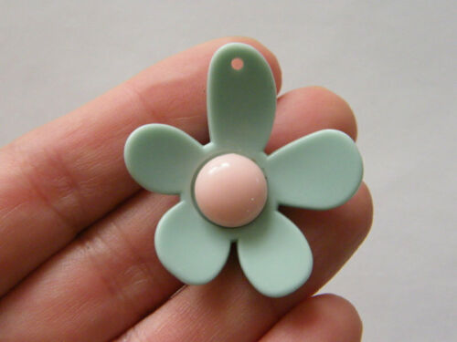 4 Flower pendants blue and pink resin F160