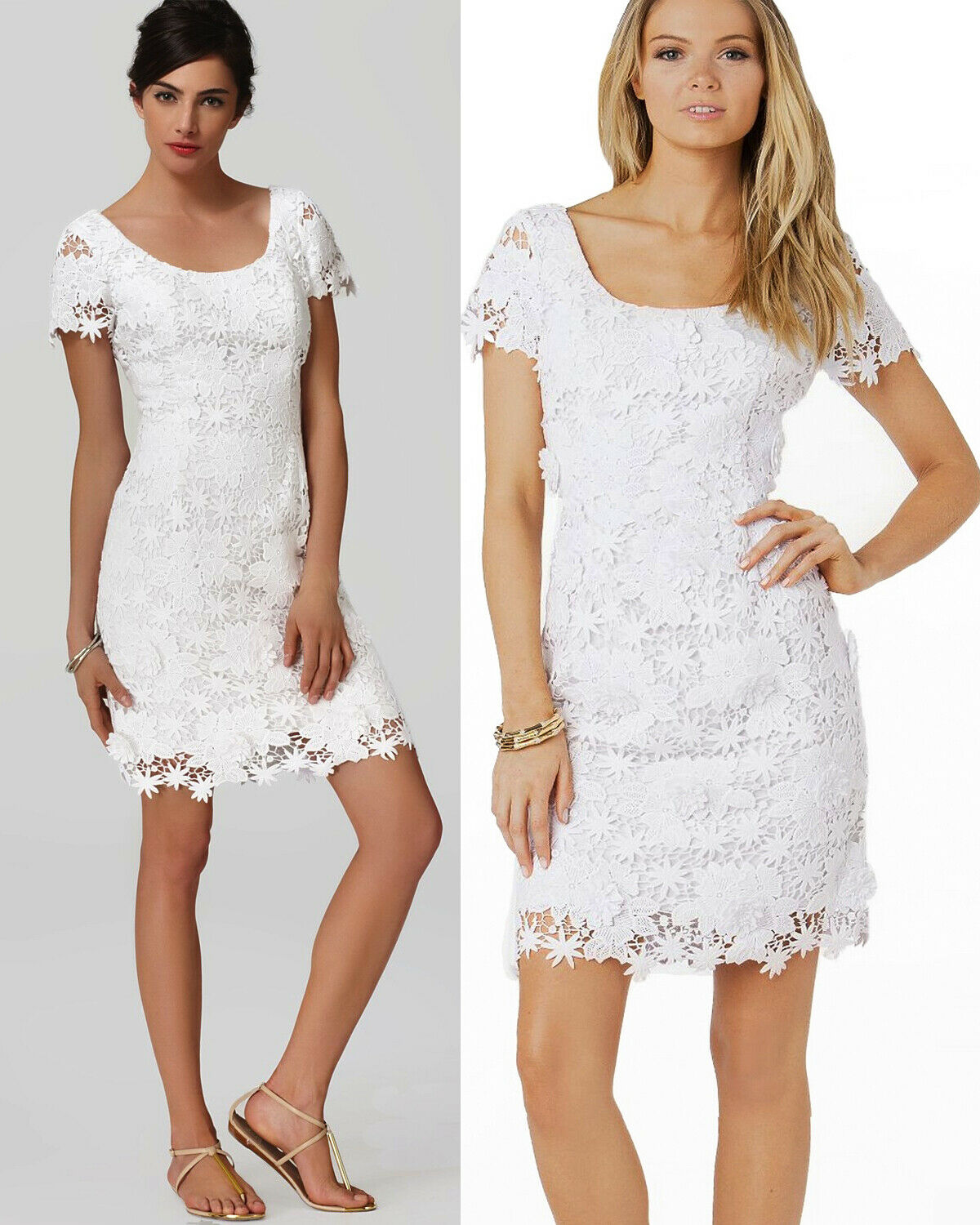 398 Lilly Pulitzer Marta Resort White Truly Floral Lace Dress
