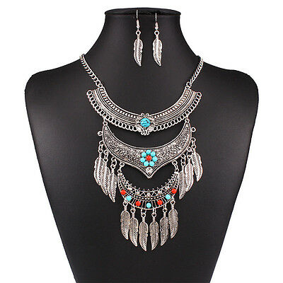 New Silver Plated Women Multilayer Leaf Retro Necklace Earrings Jewelry Set