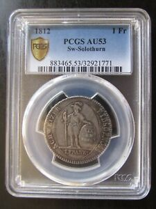 1812-Swiss-Cantons-SW-034-Solothurn-034-Silver-1-Frank-PCGS-AU53