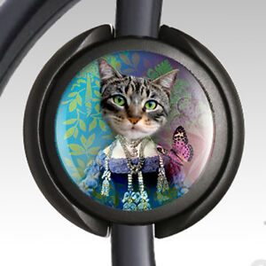 Stethoscope ID Medical Staff Lanyard Badge Reel Retractable ID Badge Littmann Stethoscope Tag Nurse Gray Tabby Cat Badge Reel