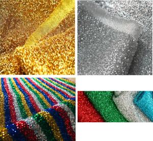 233db6bca98 Image is loading SPARKLE-TINSEL-Lurex-Fabric-Stretch-Material-Metallic -Rasta-