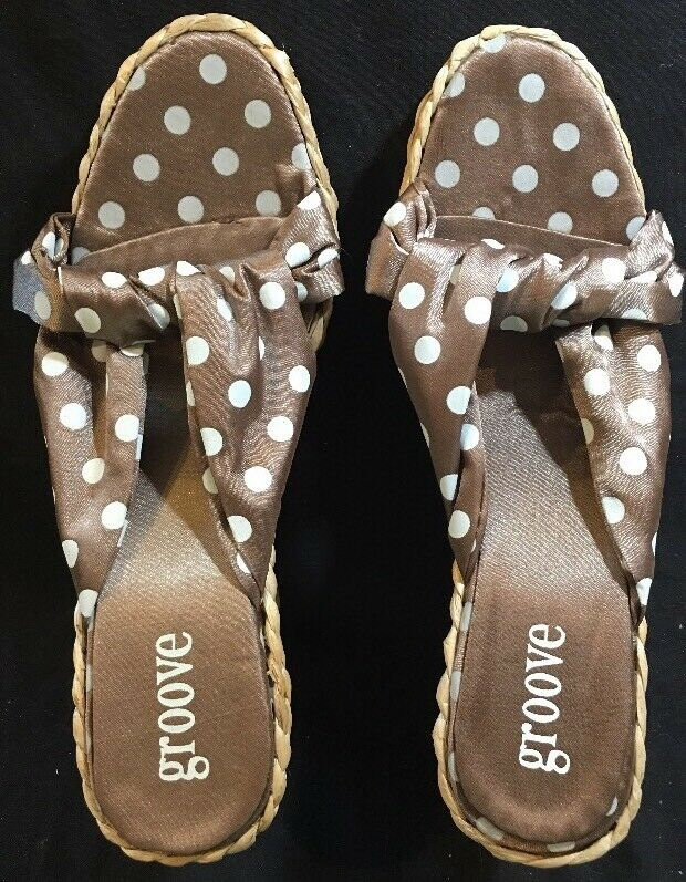 Groove April Womens Brown 9 Polka Dot Sandals Size 9 Brown f0deb0