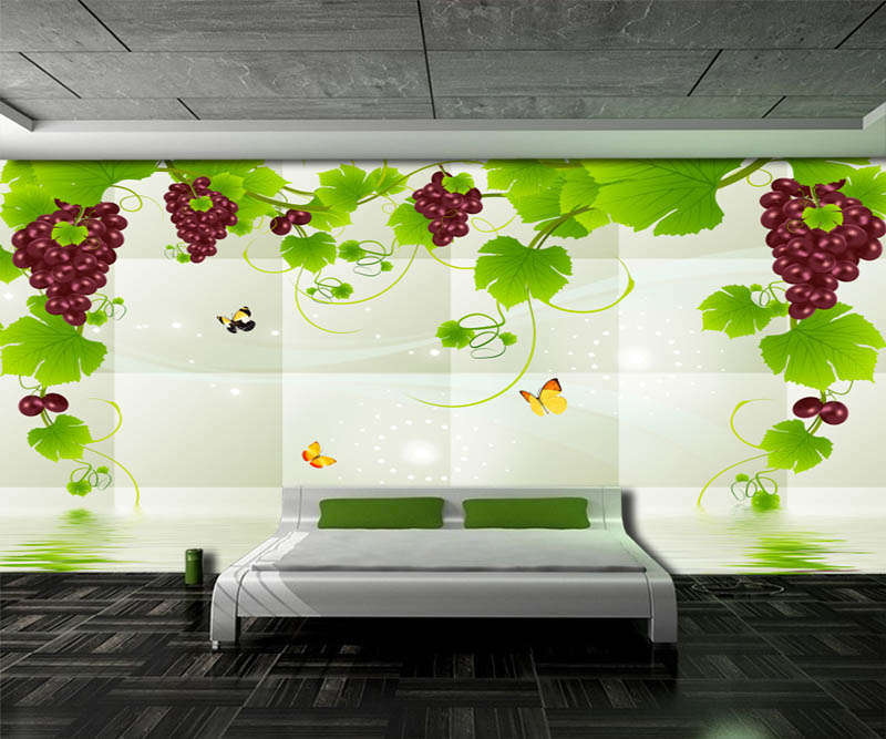 Fancy Grape Vines 3D Full Wall Mural Photo Wallpaper Printing Home Kids Decor