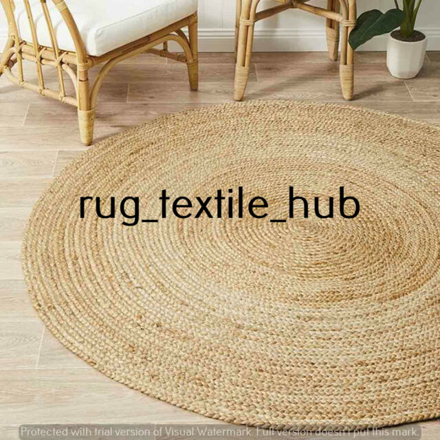Rug Jute Natural Charcoal Braided Floor