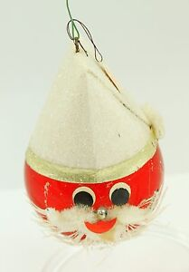 Antique Red & White Santa Face Christmas Ornament Holiday Tree Decoration