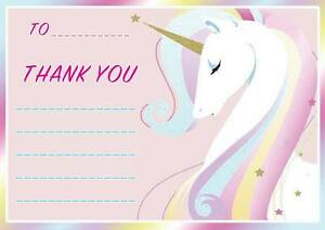 Image Is Loading CHILDRENS UNICORN BIRTHDAY GIFT THANK YOU NOTES LETTERS