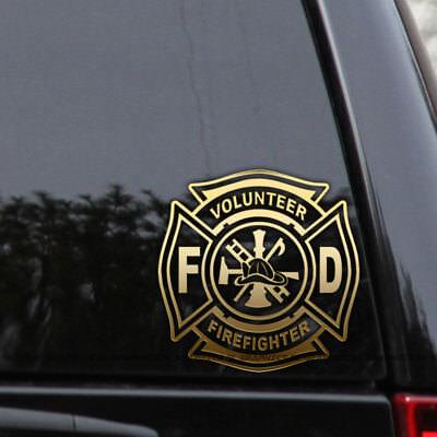 Firefighter Volunteer Maltese Cross Fire Car Window Decal Laptop Vinyl Sticker