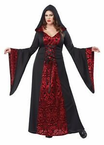 30d0a1abc26bc Image is loading Gothic-Robe-Red-Black-Women-Plus-Size-Costume