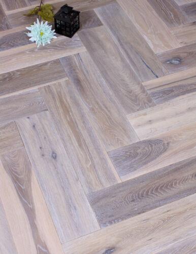 Moonlight Distressed Grey herringbone Oak Engineered Wood Floor reclaimed look