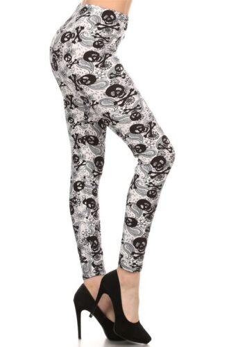 New Women/'s Skull Print Leggings Full Buttery Soft One Size Stretch S-XL R523