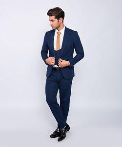 offizieller Preis günstige Preise Super Rabatt Details zu Slim Fit Herrenanzug in Blau mit Weste  -Anzug-Smoking-Hochzeit-Bühne-Sakko