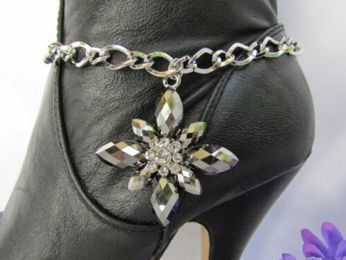 Women Silver Boot Anklet Chains Pewter Star Flower Western Shoe Charm Bling Cute