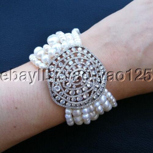 """K093012 8/"""" 7 Brins Blanc Perle Zircone cubique Pave Connecteur Bracelet"""
