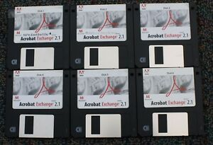 Vintage-Adobe-Acrobat-Exchange-MacIntosh-Version-2-1-3-5-034-disks-for-PDF-files