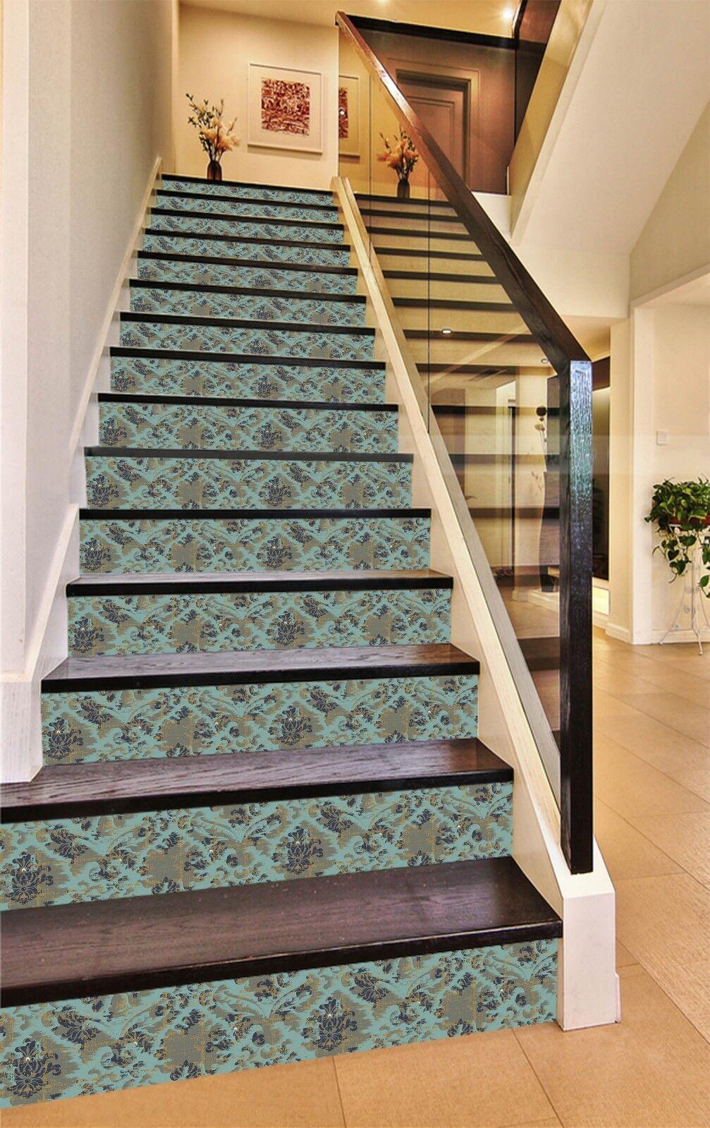 3D Cyan Flower 75 Tile Marble Stair Risers Photo Mural Vinyl Decal Wallpaper