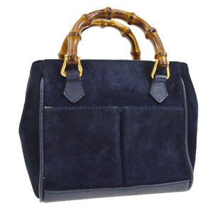 6840e6d2021 Auth GUCCI Bamboo 2way Mini Hand Bag Navy Suede Leather Italy ...
