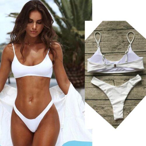 Women Push Up Bra Bikini Set Swimwear High Waist Thong Knickers Beach Pool CB UK