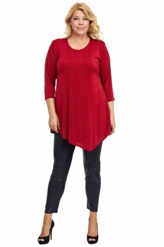 Slinky Tunika Longtunika Longshirt im Lagenlook Stil mit Zipfel burgund