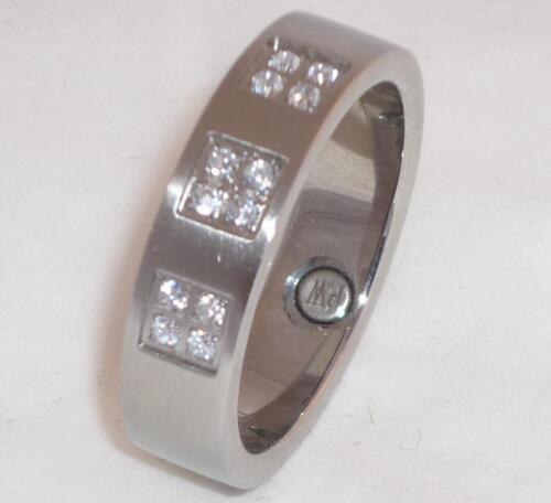 RING EDELSTAHL RING mit MAGNETEN Silber mit 12 Zirkonia Steinen  NEU GR 16-20