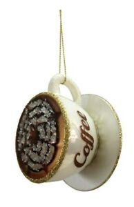 Coffee Christmas Ornament.Details About Morning Cup Of Coffee Java Cup Saucer Glass Christmas Ornament New