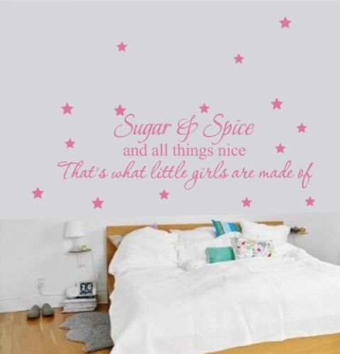Sugar /& Spice Girls Made Of Nursery Room  Art Sticker Wall uk rui236